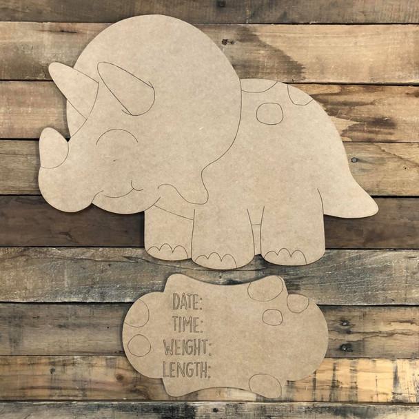 Dinosaur Baby Announcement, Door Hanger Paint by Line