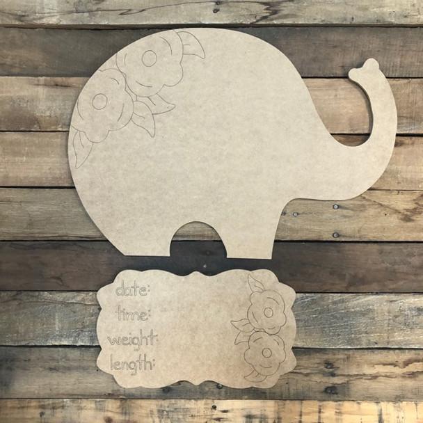 Elephant Baby Announcement, Door Hanger Paint by Line