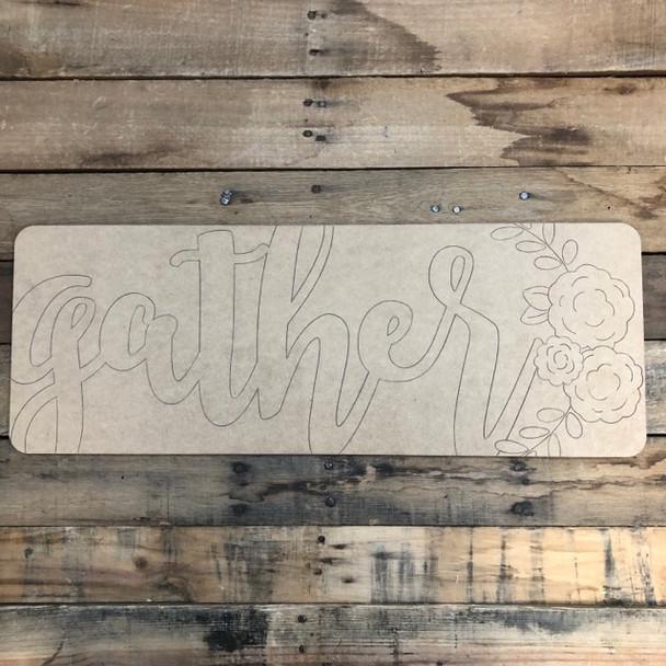 Gather Plaque, Wood Cutout, Shape, Paint by Line