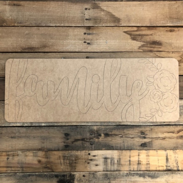 Family Plaque, Wood Cutout, Shape, Paint by Line