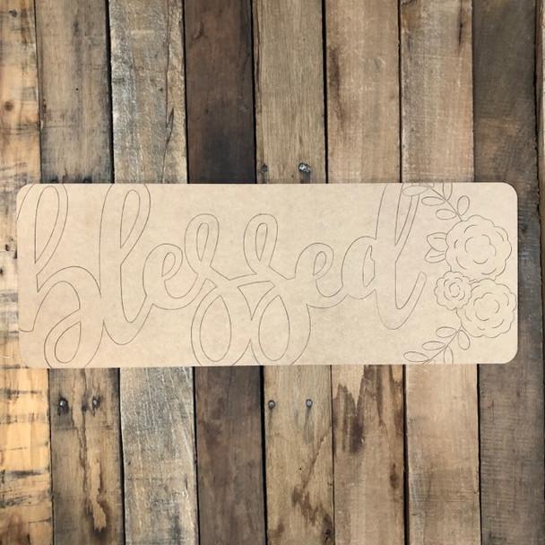 Blessed Plaque, Wood Cutout, Shape, Paint by Line