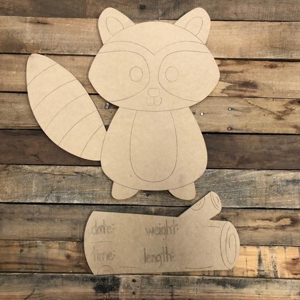 Raccoon Baby Announcement, Door Hanger Paint by Line