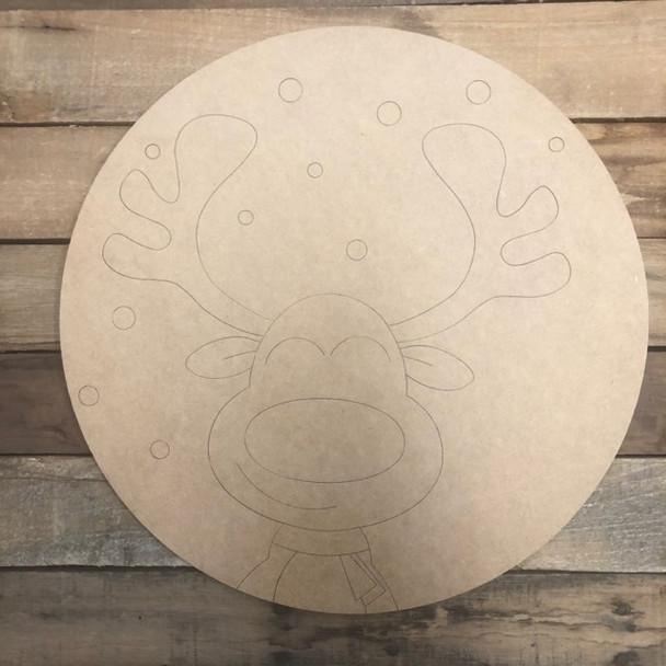 Reindeer Snowflake Circle, Wood Cutout, Shape, Paint by Line