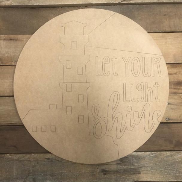 Let your Light Shine Circle, Wood Cutout, Shape, Paint by Line