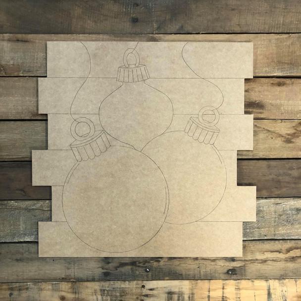 Ornaments Plaque, Wood Cutout, Shape, Paint by Line