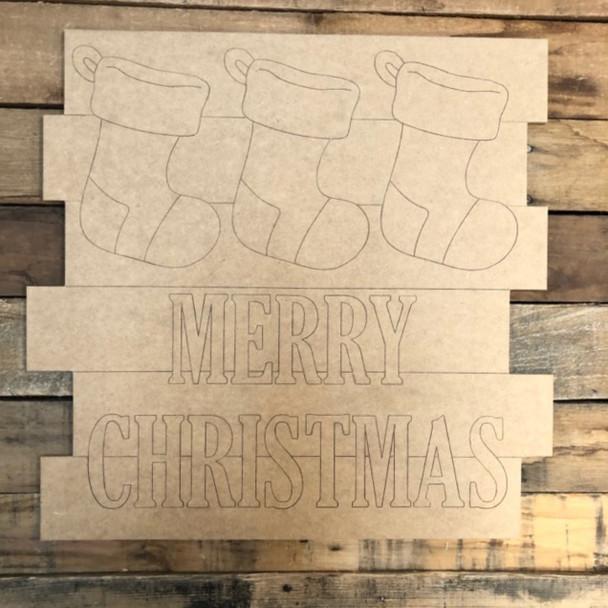 Stockings Shiplap, Wood Cutout, Shape, Paint by Line