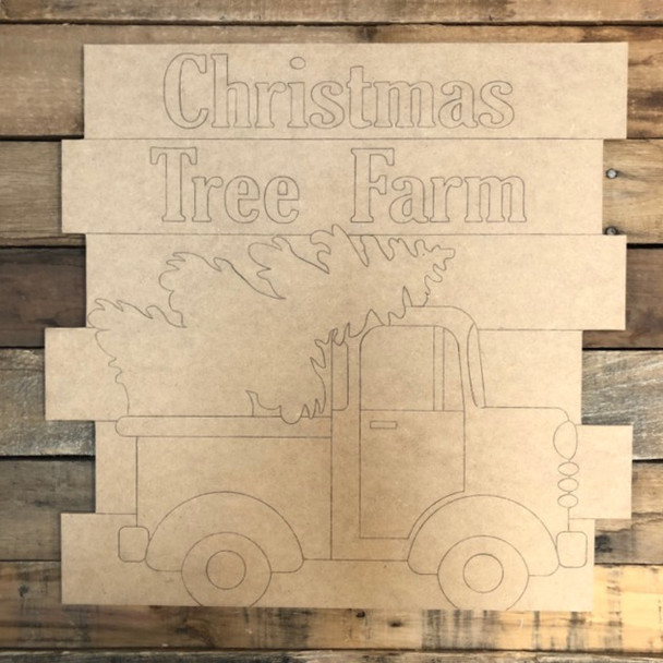 Christmas Tree Truck Shiplap, Wood Cutout, Shape, Paint by Line