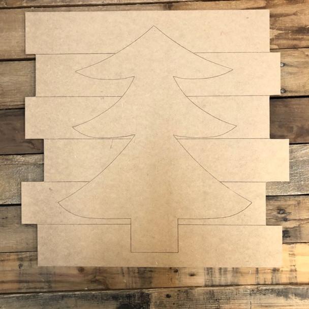 Christmas Tree Shiplap, Wood Cutout, Shape, Paint by Line