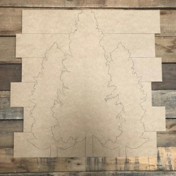 Christmas Trees Shiplap, Wood Cutout, Shape, Paint by Line