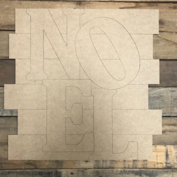 Noel Shiplap, Wood Cutout, Shape, Paint by Line