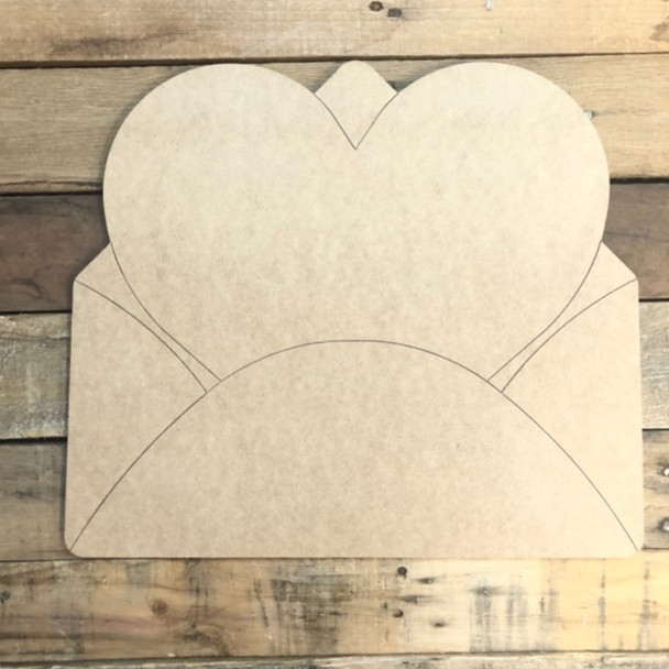 Heart in Envelope Wood Cutout, Unfinished Shape, Paint by Line