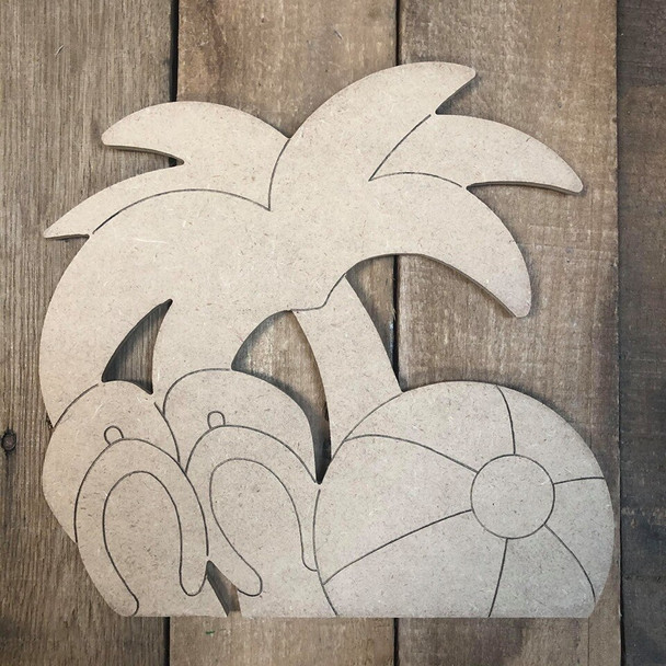 Seasonal coconut tree Cutout from Truck Kit Paint by Line
