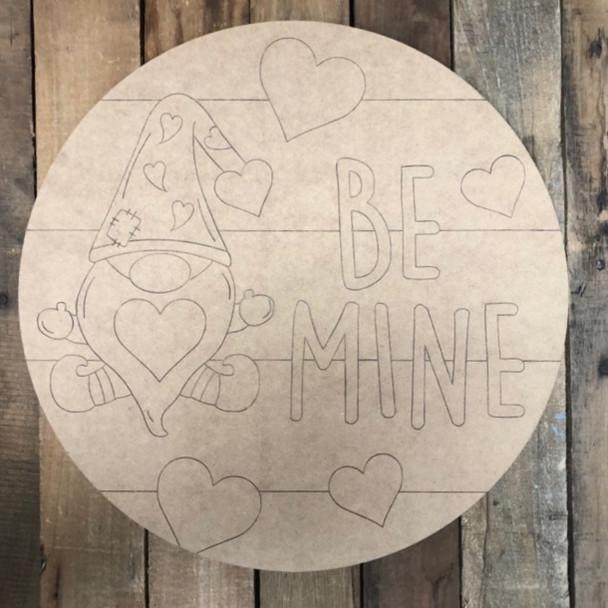 Be Mine Gnome Circle, Wood Cutout, Shape, Paint by Line