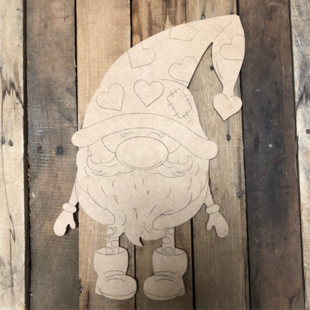 Gnome Heart Hat, Wood Cutout, Shape, Paint by Line