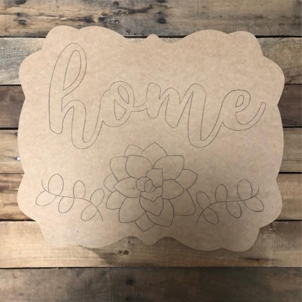 Home Flower Plaque, Wood Cutout, Shape, Paint by Line