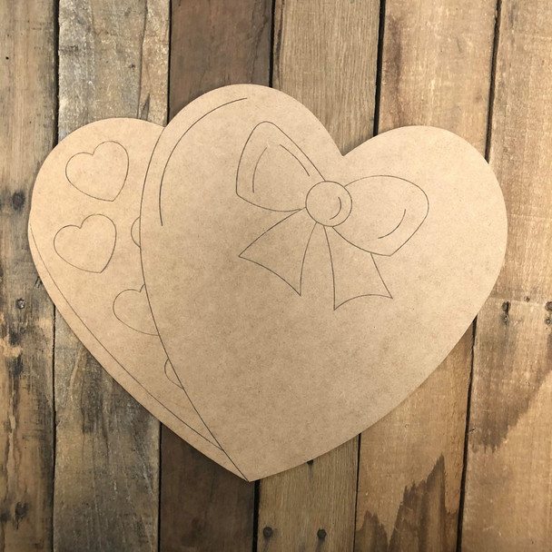 Heart Candy Cutout, Unfinished Shape, Paint by Line