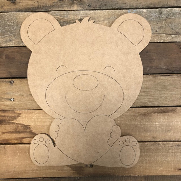 Heart Bear Cutout, Unfinished Shape, Paint by Line