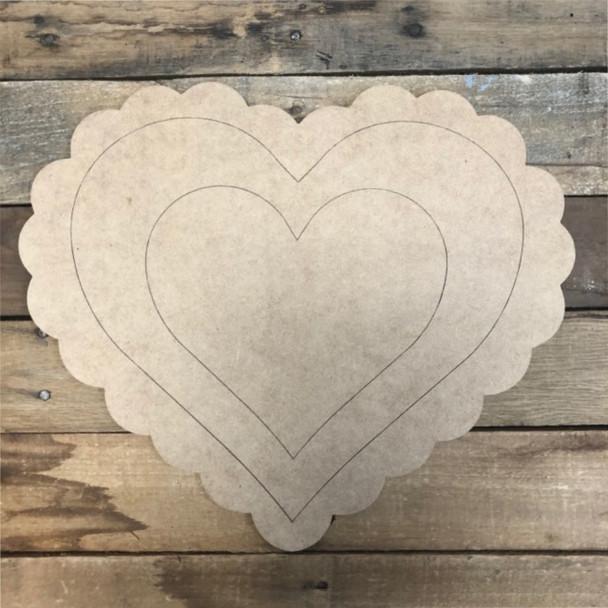 Fancy Heart Outline Cutout, Unfinished Shape, Paint by Line