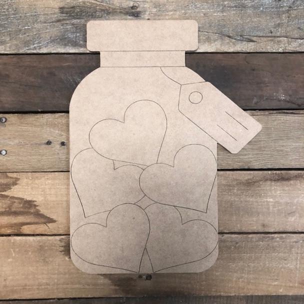 Heart Mason Jar, Wood Cutout, Shape, Paint by Line