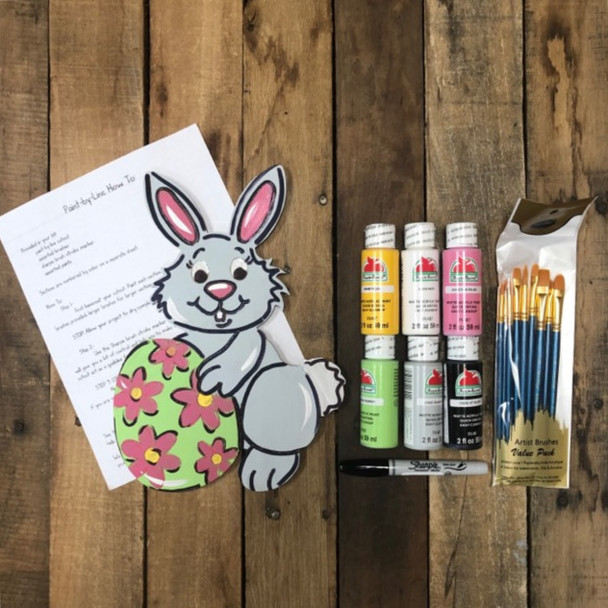 Easter Bunny with Egg, Paint Kit, Video Tutorial and Instructions