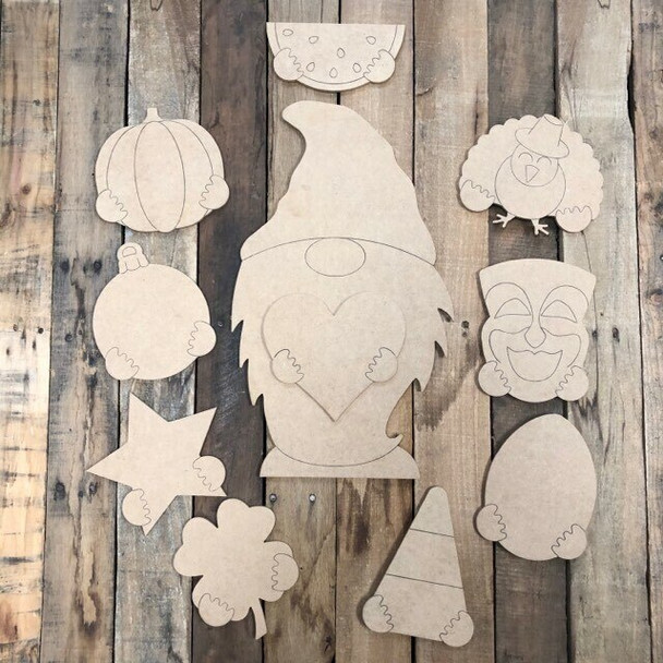 Gnome Seasonal Set Wood Cutout