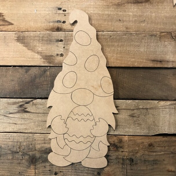 Easter Egg Gnome Wood Cutout, Shape, Paint by Line