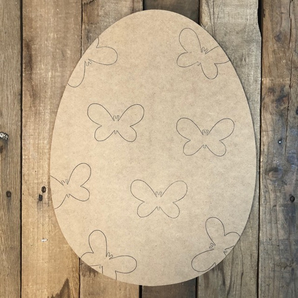 Easter Egg with Butterflies Cutout, Unfinished Shape, Paint by Line