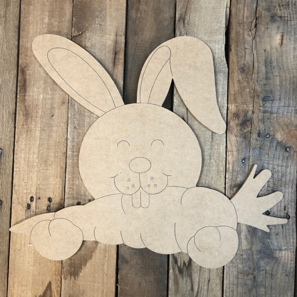 Bunny with Carrot Cutout, Unfinished Shape, Paint by Line