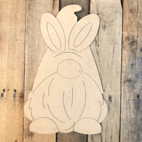 Bunny Gnome with Long Beard Cutout, Unfinished Shape, Paint by Line