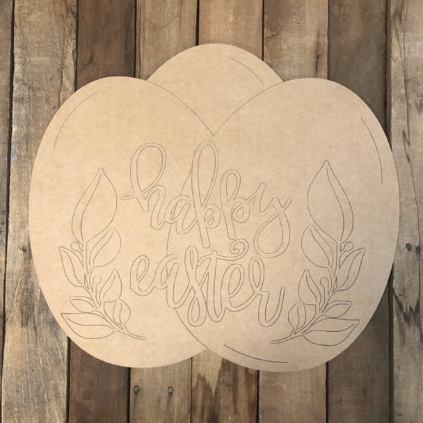 Happy Easter Eggs with Flowers Wood Cutout, Shape, Paint by Line