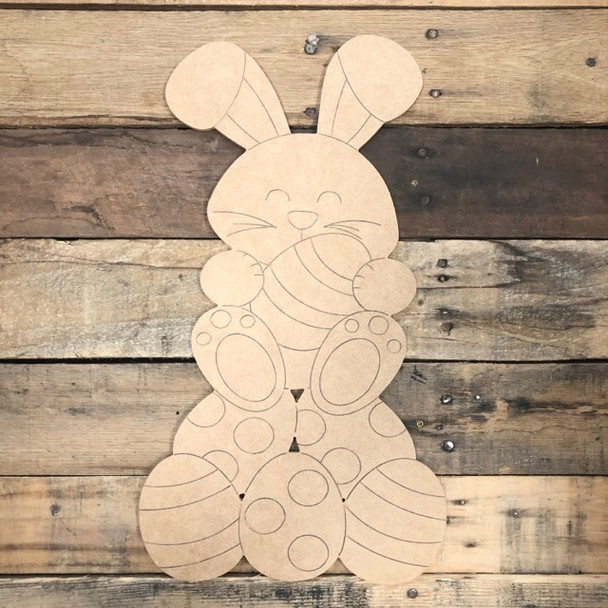 Bunny with a Bunch of Eggs, Wood Cutout, Shape, Paint by Line