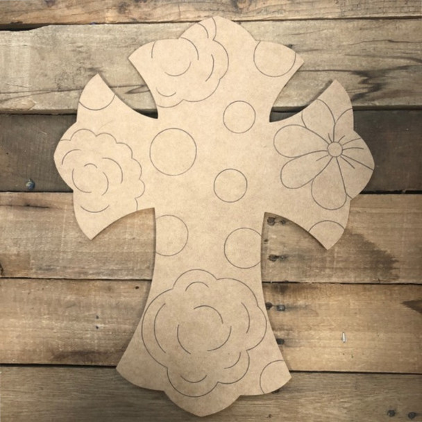 Cross with Flowers,  Wood Cutout, Shape, Paint by Line