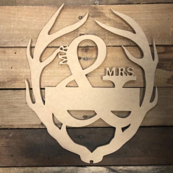 Mr & Mrs. Blank Antler Frame Wooden - Unfinished  DIY Craft