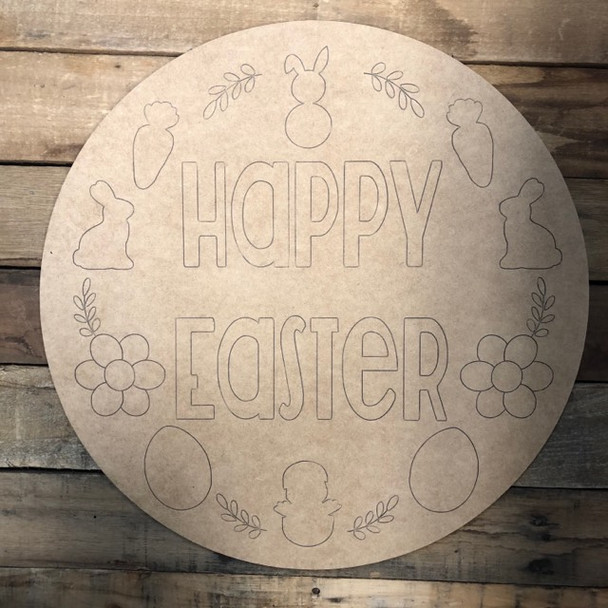 Happy Easter Circle,  Wood Cutout, Shape, Paint by Line