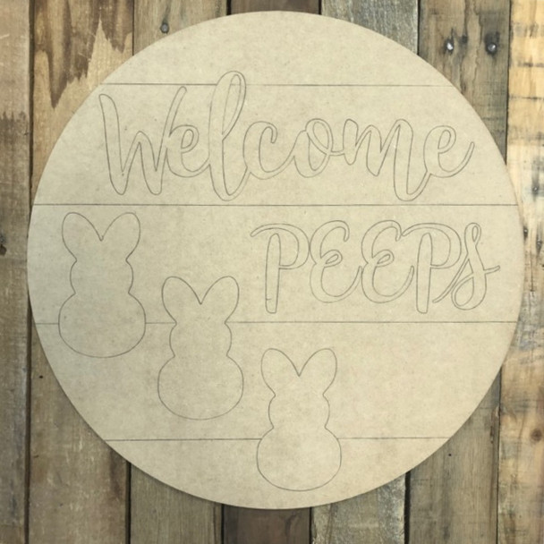 Welcome Peeps Circle,  Wood Cutout, Shape, Paint by Line