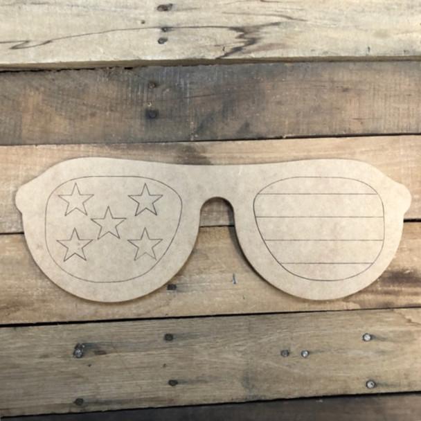 Patriotic Sunglasses, Wood Cutout, Shape Paint by Line