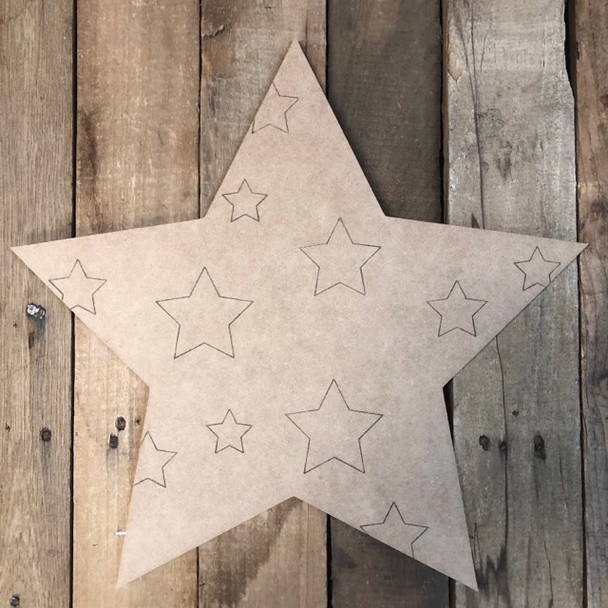 Star with Stars Patriotic, Wood Cutout, Shape Paint by Line