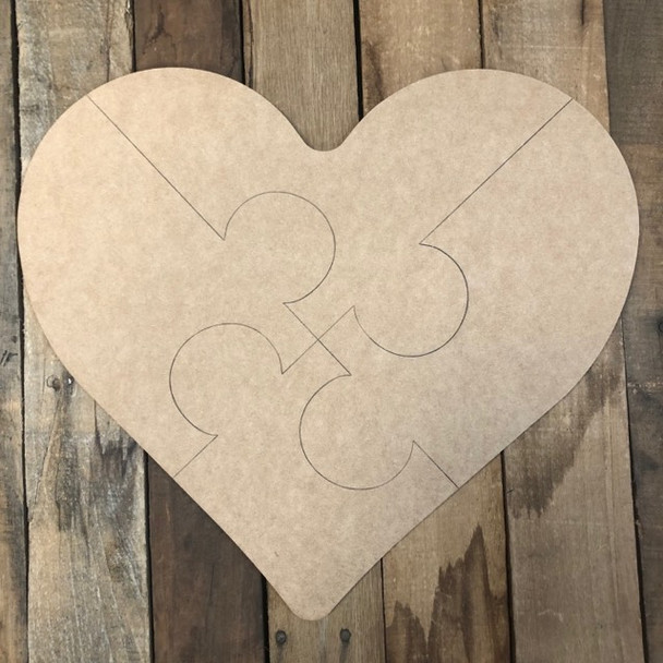 Autism Heart Cutout, Unfinished Wall Decor Paint by Line