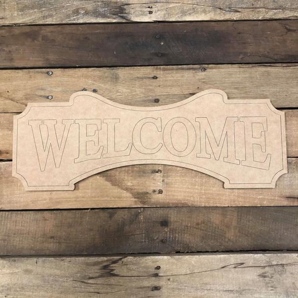 Welcome Plaque, Wood Cutout, Shape Paint by Line