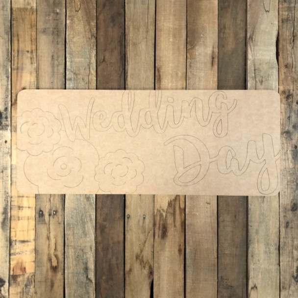 Wedding Day Plaque, Wood Cutout, Shape Paint by Line