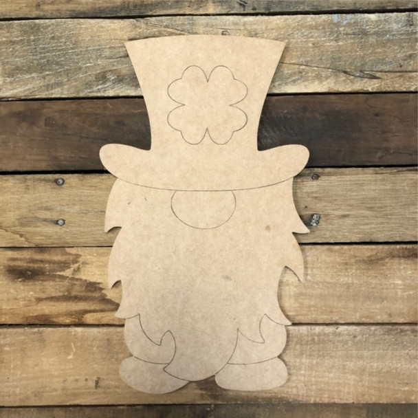 Shamrock Gnome Cutout, Unfinished Wall Decor Paint by Line