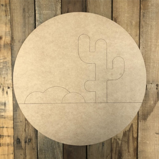 Cactus Desert Cutout, Unfinished Wall Decor Paint by Line