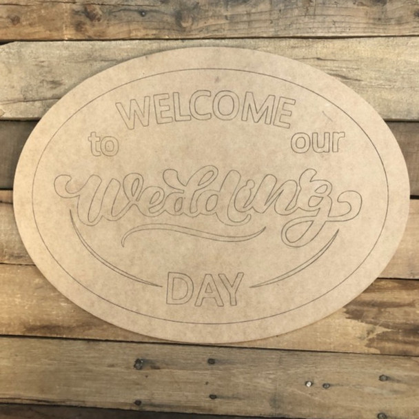 Welcome to Our Wedding, Wood Cutout, Shape Paint by Line