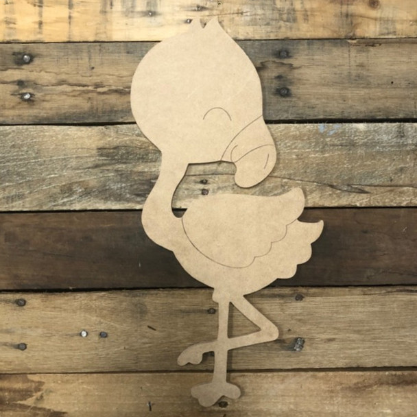 New Tiny Flamingo Cutout, Unfinished Wall Decor Paint by Line