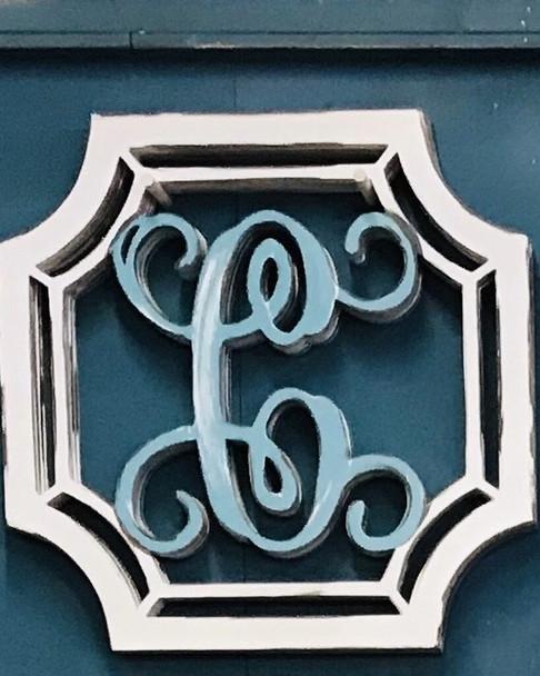 Unfinished Square Monogram Letter Wooden Unfinished DIY Craft