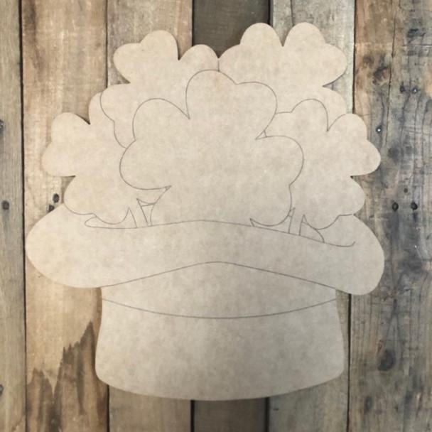 Shamrock Hat St.Patrick's Day Shape, Wood Cutout,  Paint by Line