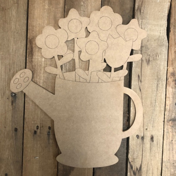 Spring Flowers in Watering Pot Shape, Wood Cutout, Paint by Line