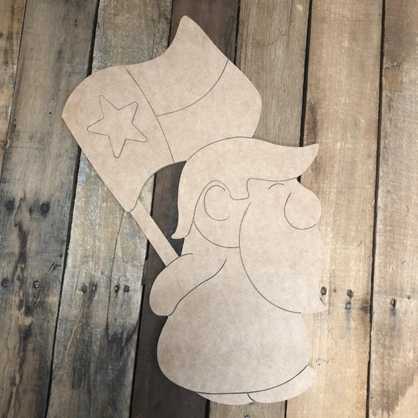 American Gnome Holding Texas Flag Shape, Wood Cutout, Paint by Line