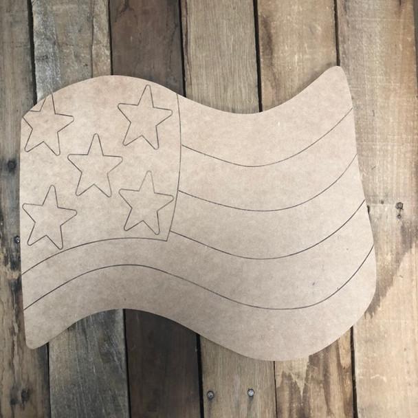 American Flag Shape, Wood Cutout, Paint by Line
