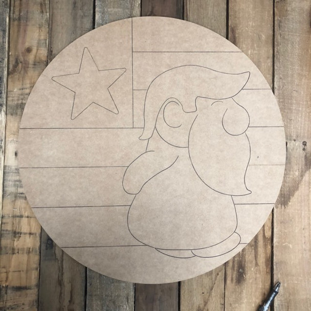 American Gnome Texas Circle, Wood Cutout, Paint by Line